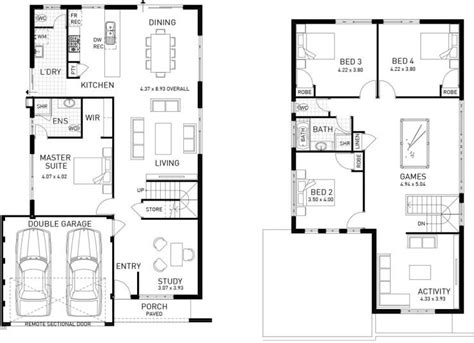 double storey floor plans the stanford four bed two storey home design plunkett