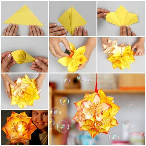 How To Make Origami Hanging Decorations - diy origami kusudama decoration