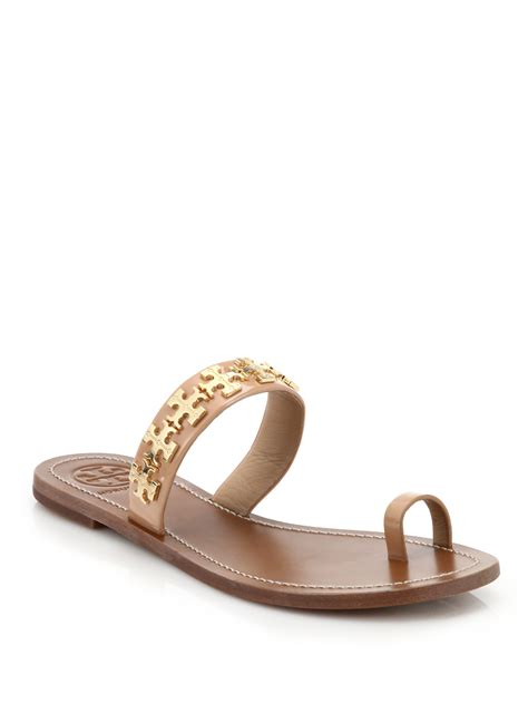 toe ring sandals burch val metal logo leather toe ring sandals in