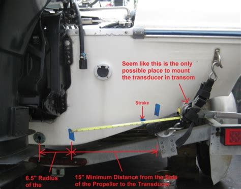 boat transom location on trailer location in transom to mount transducer of a fishfinder