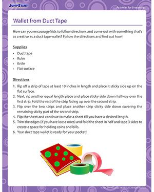 printable directions for a duct tape wallet wallet from duct tape 8 year old activity jumpstart