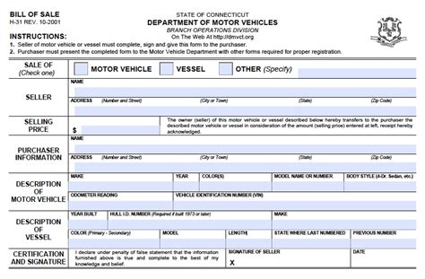 bill of sale dmv free connecticut dmv vehicle boat bill of sale h 31
