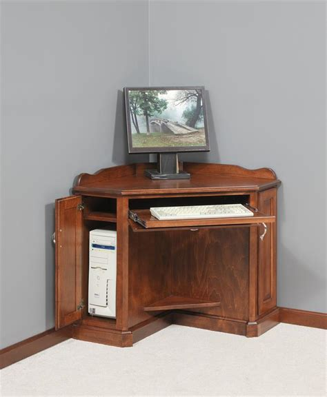 Small Corner Computer Armoire with Amish Corner Computer Armoire Amish Computer Desks Amish Desks 10303
