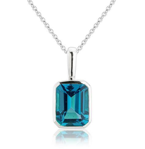 blue topaz pendant necklace 9k white gold other