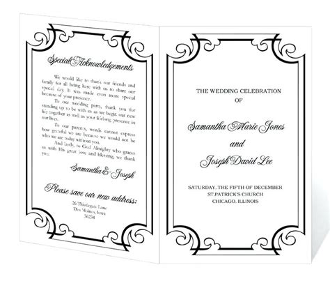 Word Program Templates by Wedding Program Templates Microsoft Word Mac Mini Bridal