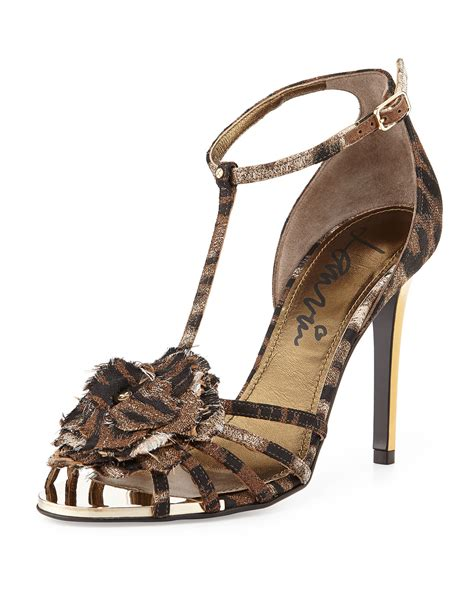 leopard t sandals lanvin leopard print t flower sandal in brown lyst