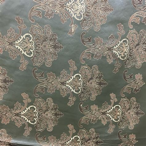 fabrics by the yard green gold floral embroidered faux leather vinyl