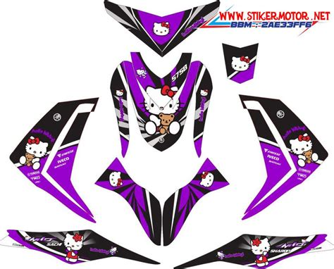 Stiker Secal Fino Carbu Hello motor yamaha mio m3 hello kity purple stikermotor net