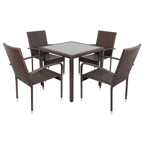 modena rattan wicker dining table with 4 chairs garden