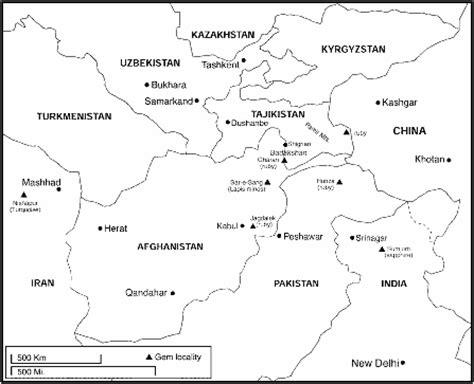 asia map with country names black and white afghanistan s ruby and spinel mines ganoksin jewelry