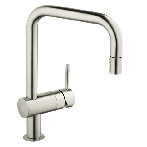 grohe minta kitchen faucet grohe minta single handle pull out sprayer kitchen faucet in super steel 32319dce the home depot