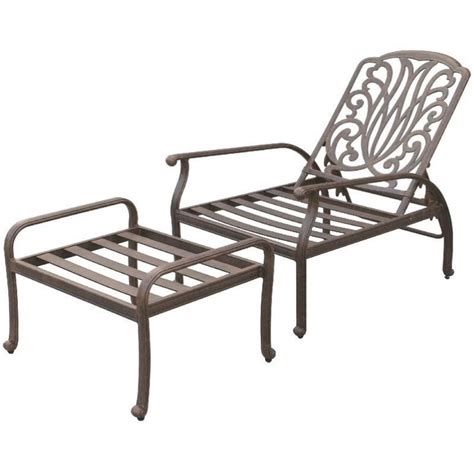 Adjustable Patio Chairs Darlee Elisabeth Adjustable Patio Chair And Ottoman In Antique Bronze Ebay