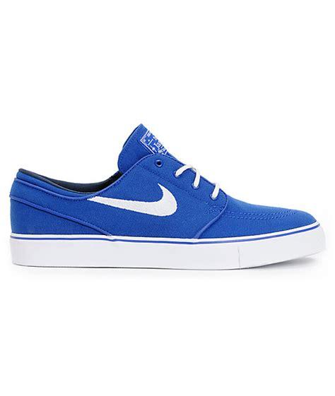 nike sb zoom stefan janoski royal blue white canvas shoes zumiez