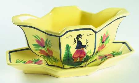 quimper gravy boat quimper soleil yellow octagonal man at replacements