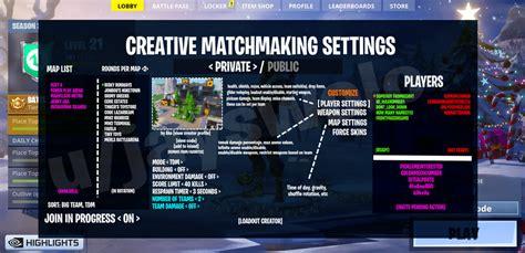 fortnite creative lobby based matchmaking system