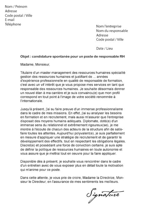 lettre de motivation responsable rh mod 232 le de lettre