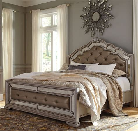 upholstered headboard king bedroom set birlanny silver upholstered panel bedroom set from ashley