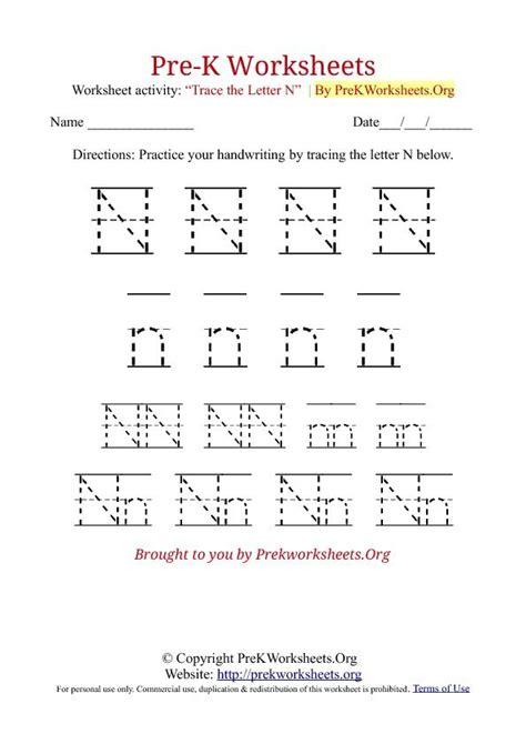 free printable tracing letter n pre k tracing worksheet n letter sound sheets