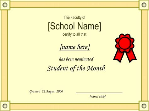 free student of the month certificate templates student of the month certificate template quotes school