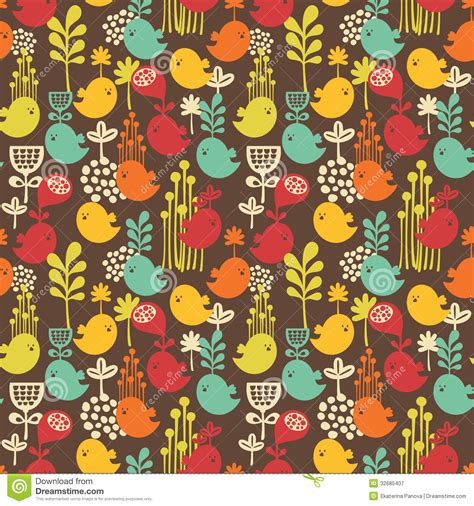 seamless nature pattern vector seamless pattern with cartoon birds royalty free stock