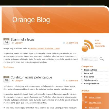 templates for blog website free download orange blog template free website templates in css html
