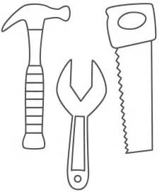 Hammer Saw And Wrench  Coloring Page Tools sketch template