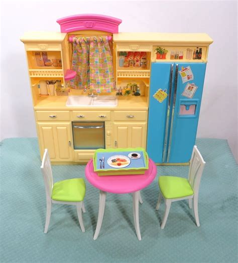 barbie kitchen furniture 2002 barbie dollhouse furniture yellow kitchen play set