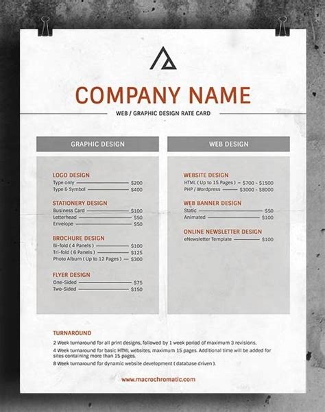 professional rate card template rate card templates word templates docs