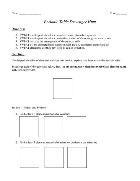 periodic table scavenger hunt answer key περιοδικός πίνακας κυνήγι θυσαυρού