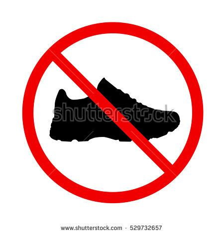 no shoes in the house sign printable stop sign no shoes stock vector 529732657 shutterstock