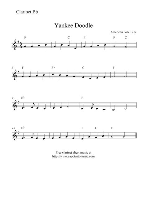 free yankee doodle sheet for clarinet yankee doodle free clarinet sheet notes