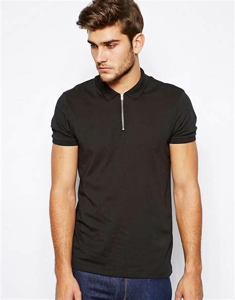 Polo Zipper asos asos polo shirt with zip neck