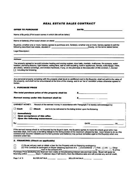 Real Estate Sales Contract Free Download Real Estate Sales Contract Template
