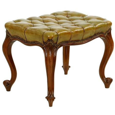 antique ottomans footstools french rococo green tufted leather antique footstool