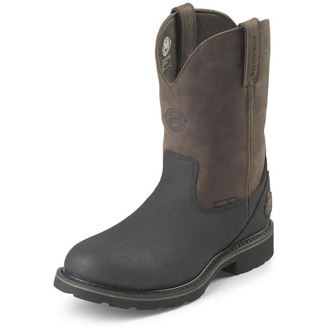 s pull on boots s justin 174 10 quot work tex steel toe pull on boots