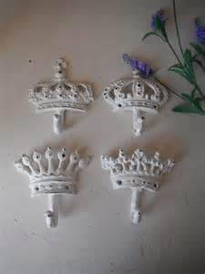 white wall hooks set of 4 shabby chic hooks crown by shabbyroad