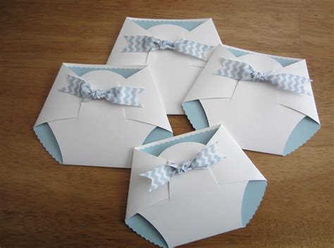 Handmade Baby Shower Ideas - handmade baby shower invitation shape w chevron