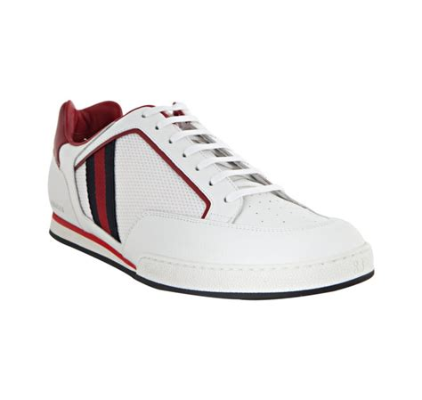 gucci tennis shoes for gucci leather tennis shoes in white for lyst