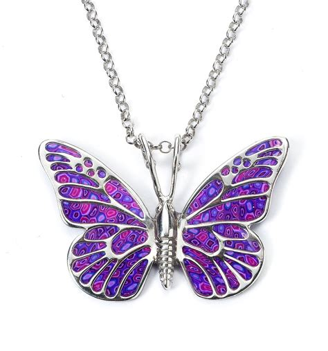 purple butterfly pendant necklace animal by funwithmillefiori