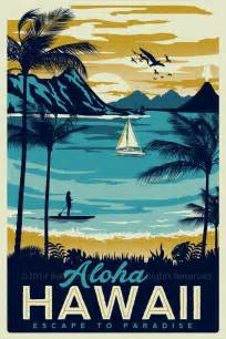 printable vintage poster hawaii retro vintage travel poster surf palm trees screen