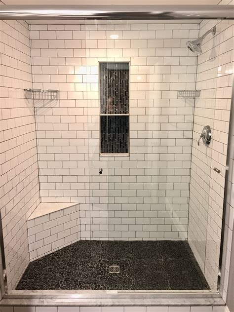 grey pebble tiles bathroom master shower subway tile with grey grout vertical