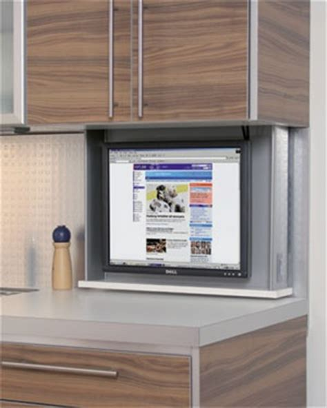 kitchen cabinet tv tv lift to hide it behind kitchen cabinet ranch house