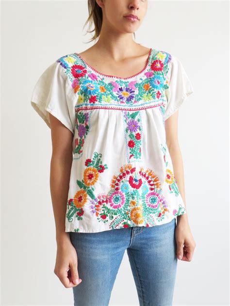 Preloved Second Import Blouse Korea 1 mexican folk blouse blue denim blouses