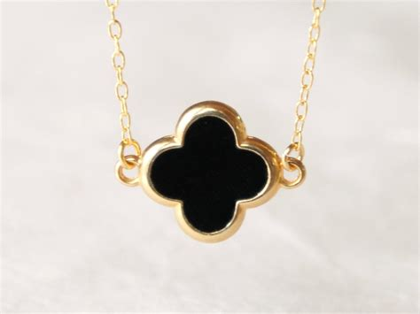 for jewelry black four leaf clover necklace delicate 14k gold by