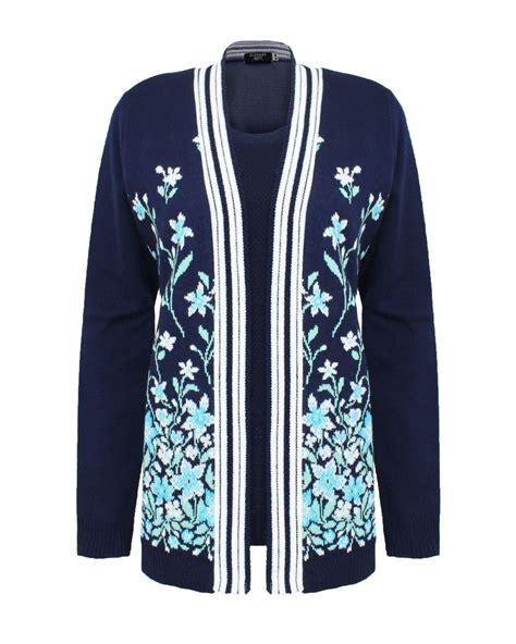 New Set Wanita Jumper Bluesky new womens floral knitted inserted set cardigan sweater jumper top ebay