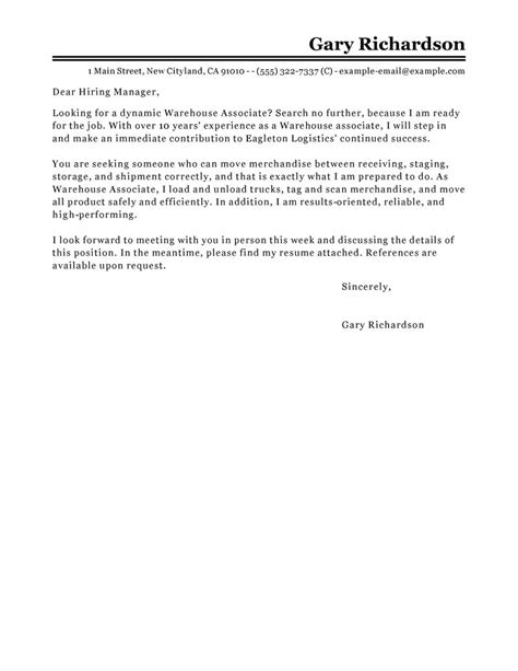 warehouse associate cover letter exles maintenance