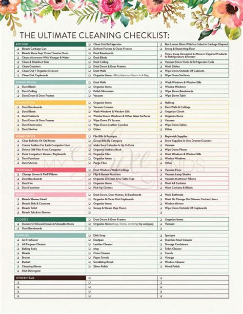 house checklist the ultimate house cleaning checklist printable pdf