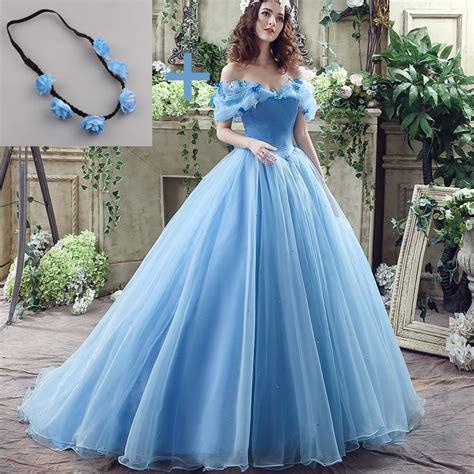 new deluxe cinderella wedding dress blue cinderella bridal gown robe de mariee