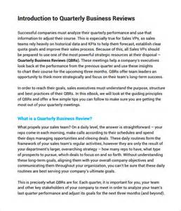 quarterly business review template sle business review 6 documents in pdf word