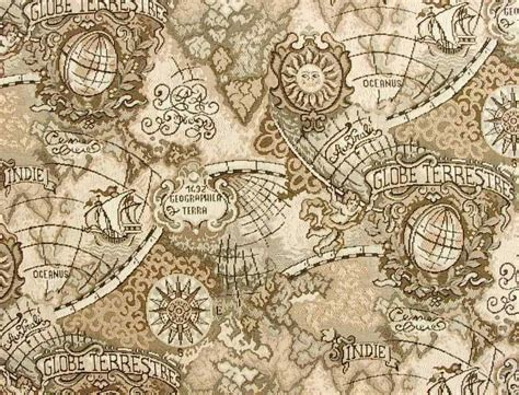 Ancient Explorer Map Vintage World - ancient mariner fabric swatch with world navigation